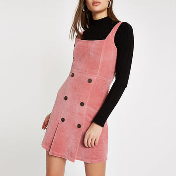 Pink button front cord pinafore dress - Slip & Cami Dresses - Dresses - women