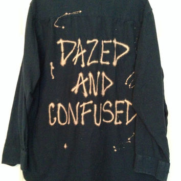 "Navy flannel ""Dazed and Confused"" hand bleached shirt // soft grunge"