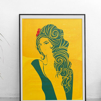 Amy Winehouse Retro: Tears dry on their own - Illustration poster, Matte and Giclee Art Prints in A3 or A2 sizes. Wall Art, Home Decor