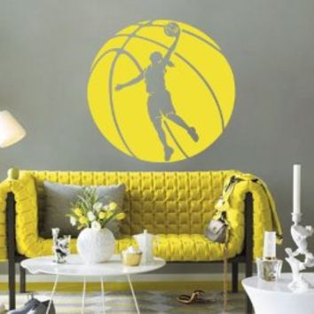 Housewares Wall Vinyl Decal Sport People Basketball Game Woman Girl Player Ball Emblem Gym Interior Home Art Decor Kids Nursery Removable Stylish Sticker Mural Unique Design for Any Room