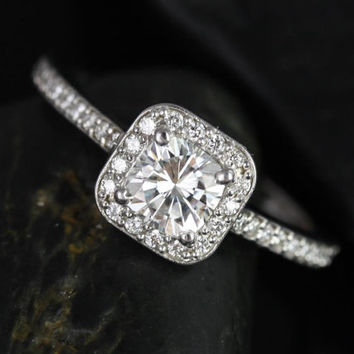 Ultra Petite Camila 14kt White Gold Thin FB Moissanite and Diamonds Cushion Halo Engagement Ring (Other metals and stone options available)