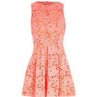River Island Girls coral lace floral dress