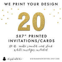 "20 Printed CARD STOCK INVITATIONS We Print Your Design! Professionally Printed by digibuddha Printing 5x7"" Invite Greeting or Photo Card"