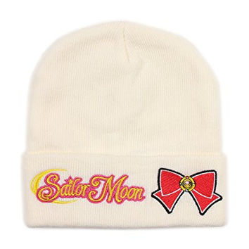Sailor Moon Ribbon White Beanie