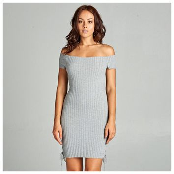 Ribbed Laced Up Dress Heather Grey