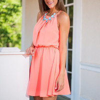 Round Of Applause Dress, Neon Coral