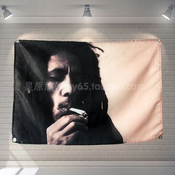 """BOB MARLEY""Retro Rock Band Poster Music Banners Piano Gallery Bedroom Decor Hanging Art Waterproof Cloth Polyester Fabric Flags"