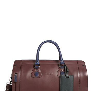 Men's Ted Baker London 'Megabag' Colorblock Leather Duffel Bag - Red