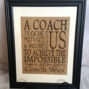 Personalized gift for Coach - A coach teaches us motivates us & inspires us - Coach Gift