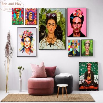Frida Kahlo Self Portrait Canvas Art Print Painting Poster Wall Pictures For Wall Decoration Home Decor No Frame new Year gifts
