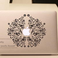 around apple flower- Decal laptop MacBook pro decal MacBook decal MacBook air sticker