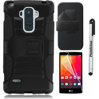 LG G STYLO Case, Phonelicious® For LG G STYLO (LS770) Xtreme Heavy Duty Hybrid Armor Dual Layer Rhino Kickstand Belt Holster Clip Combo Rugged Case Tuff + LCD Clear Screen Phone Protector Combo & Phonelicious® Pen Stylus