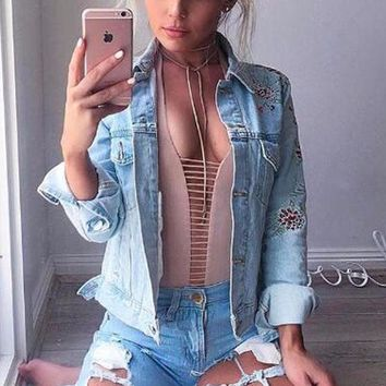 Cute Fitted Stripped Cut-Out Bodysuit