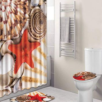 Starfish 12hooks Shower Curtain & 3pcs Rug