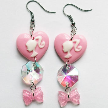 Kawaii Barbie Pink Pastel Crystals dangle bow earrings
