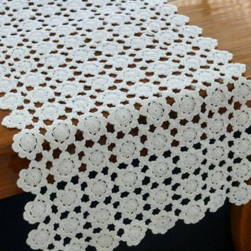 Floral Design Runner- Handmade Crochet- Spring Collection- Natural and White Colors