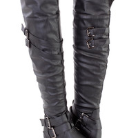 Black Strappy Thigh High Riding Boots Faux Leather