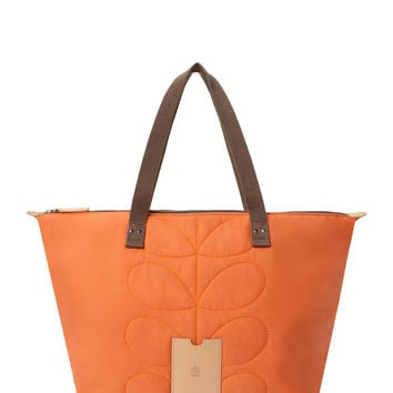 Orla Kiely Women's Stem Quilted Nylon Large Tote Bag - Orange