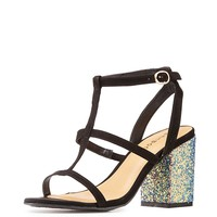 Bamboo Glitter-Trim Caged Sandals | Charlotte Russe