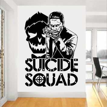 Design Joker Suicide Squad Art Decor Fashion Design Wall Stickers For Boys Bedroom Teens Room Decor Manga Mural #M735