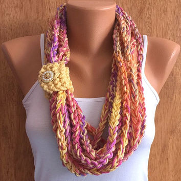 sunset colors hand crochet chain Infinity scarf - necklace scarf gift or for you