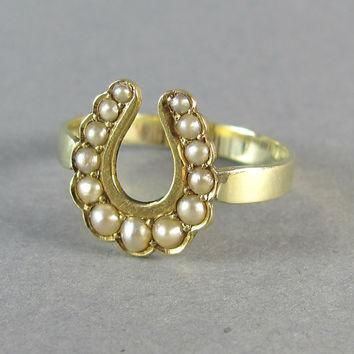 LUCKY Victorian seed pearl horseshoe ring, conversion ring, stacking ring, statement r