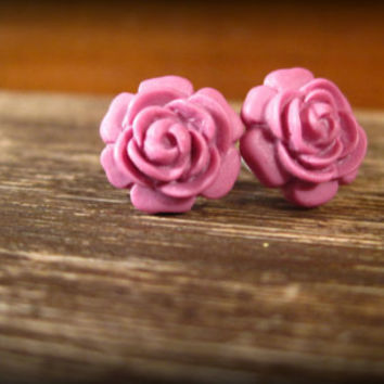 Rose Studs Rosette Post Earrings in Fuchsia by prettypleasempls