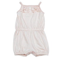 Baby Girls Summer Sleeveless Shortalls Brown Stripes