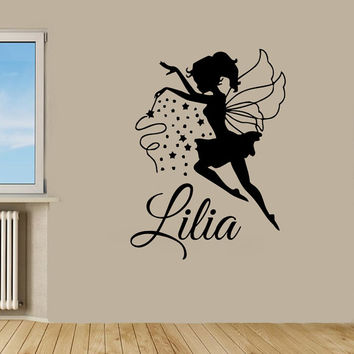 Fairy Girl Wall Decals Girl Personalized Name Magic Dust Vinyl Sticker Kids Room Decor Home Decor Vinyl Art Girl Nursery Room Decor KG135