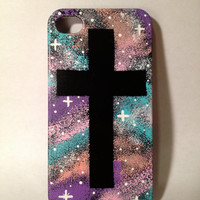 Hand Painted Galaxy Cross iPhone 4/4s/5/5s Case