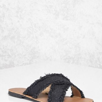 Crisscross Denim Sandals