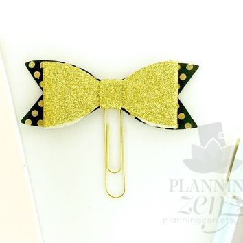Planner Clip Black and Gold Glitter Polkadots Bow Faux Leather