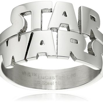 Star Wars Jewelry Men's Cut Out Logo Stainless Steel Ring