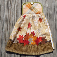 "Fall Themed, Falling Maple Leaves, Hanging ""Pot Holder"" Top  Kitchen Towel Oven Door Hanger"