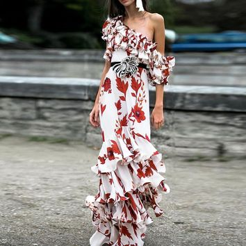 One-shoulder Floral Cascading Ruffle Maxi Dress