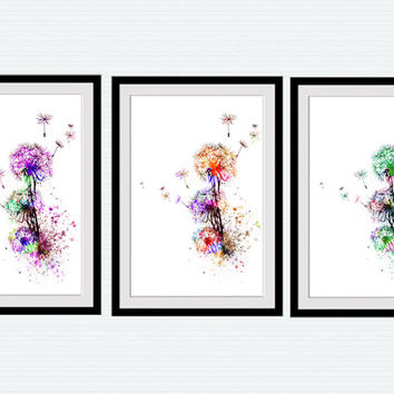 Dandelion watercolor print set Dandelion set of 3 Dandelion poster set Set of 3 posters Home decoration Living room wall art Flower set  S8