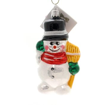 Golden Bell Collection Snowman With Broom Glass Ornament