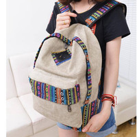 New 2016 female mochila bolsas women ethnic brief canvas backpack preppy style school Lady girl student school Travel laptop bag