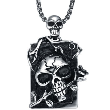 Stainless Steel Gothic Demon Skull and Rose W. Black Crystal Pendant Necklace