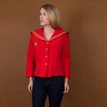 80's red sailor jacket / 50s inspired nautical blazer / ring leader jacket top / star embroidered top / Vintage 1980s pinup utilitarian