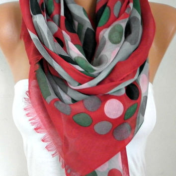 Spring Polka Dot Cotton Scarf Shawl Summer Cowl Oversize Wrap Gift Ideas For Her Women Fashion Accessories Mother Day Gift Women Scarves