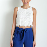 Jodi White Lace Crop Top