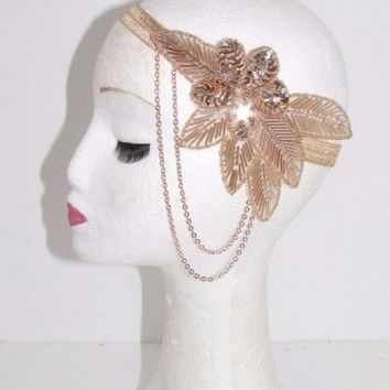 Rose Gold Nude Chain Headband Headpiece Vintage 1920s Great Gatsby Flapper 657