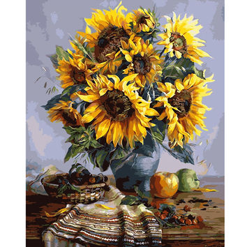 40X50CM Frameless Sunflower Linen Canvas Wall Art Oil Painting DIY Paint By Numbers Home Decor
