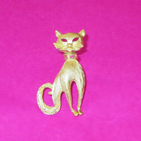 Vintage Cat Pin, Brushed Gold & Pink Rhinestones, Stylized Kitty Cat Brooch Pin, 1960s, Cute! 15% Off SALE!