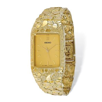 10k Yellow Gold Champagne 27x47mm Dial Square Face Nugget Watch