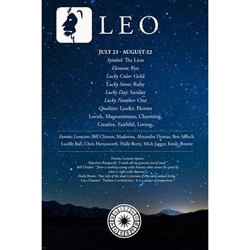 Leo Description ASTROLOGY POSTER 24X36 Famous People QUALITIES QUOTES New