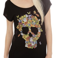 Colorful Butterfly Skull Top