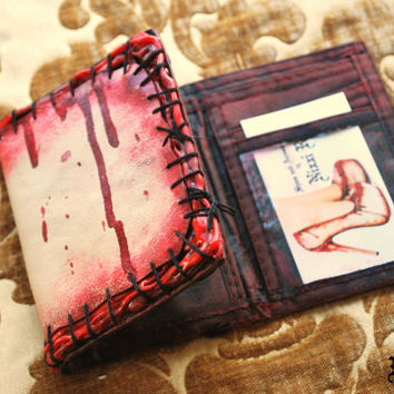 Zombie flesh blood and stitches wallet