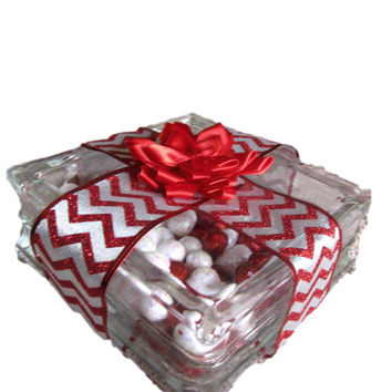 Christmas decorations, Ice block decor, Red ribbon present decoration, light box present, Christmas Present decorations